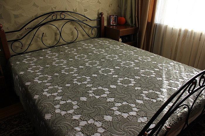 Покрывало на кровать связать