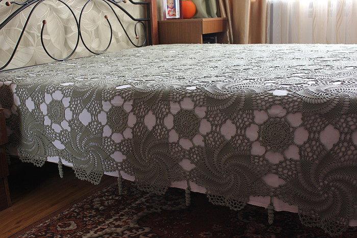 Вязаное покрывала на кровать своими руками