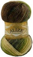 Пряжа ANGORA GOLD BATIK Alize - (1893 - Белый, беж, зеленый, коричневый)