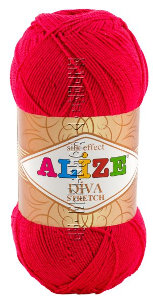 Пряжа DIVA STRETCH Alize - (396 - Мак) 100 г / 400 м8% ПБТ эластик, 92% микрофибра акрил