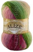 Пряжа ANGORA GOLD BATIK Alize - (2527 - Зеленый, розовый, бордовый)