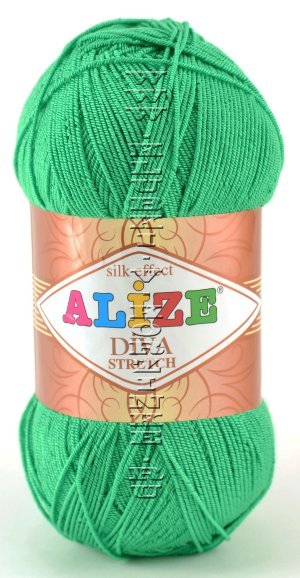 Пряжа DIVA STRETCH Alize - (123 - Изумруд) 100 г / 400 м8% ПБТ эластик, 92% микрофибра акрил