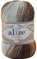 Пряжа Superlana Klasik Batik Alize - (3380 - Белый, беж, коричневый)