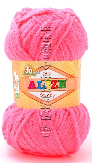 Пряжа Softy Alize - (653 - Коралловый неон) 50 г, 115 м100% микрополиэстер