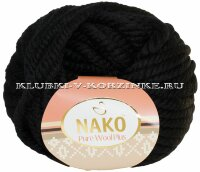 Пряжа Pure Wool Plus Nako - (217 - Чёрный)